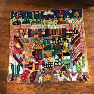 Peruvian Mercado 3D Hand Sewn Blanket